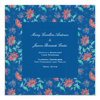 Invitación floral 3 del boda del cuadrado del