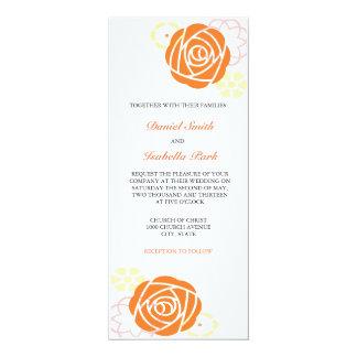 Invitación floral 4 x 9 del boda del amarillo invitación 10,1 x 23,5 cm