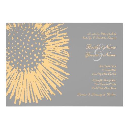 Invitación floral abstracta amarilla y gris del bo
