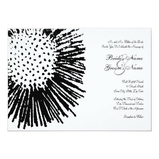 Invitación floral abstracta blanco y negro del