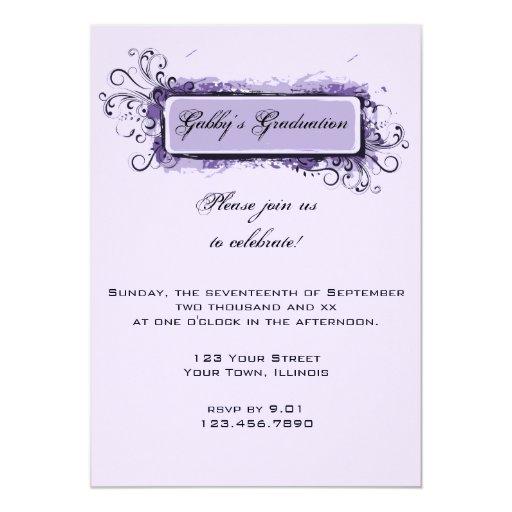 Invitación floral abstracta púrpura de la fiesta