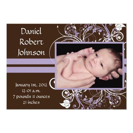 Invitación floral adorable del nacimiento