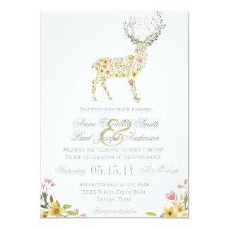 Invitación floral amarilla del boda de las astas