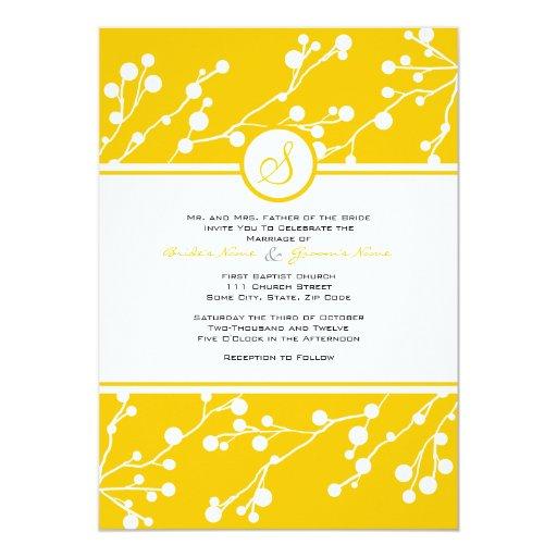 Invitación floral amarilla y blanca del boda del invitación 12,7 x 17,8 cm