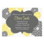 Invitación floral amarilla y gris moderna de la du