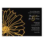 Invitación floral amarilla y negra del boda