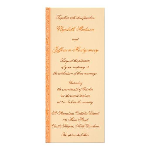 Invitación floral anaranjada del boda de William M