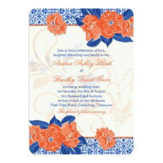 Invitación floral anaranjada del boda del azul