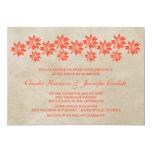 Invitación floral anaranjada del boda del vintage