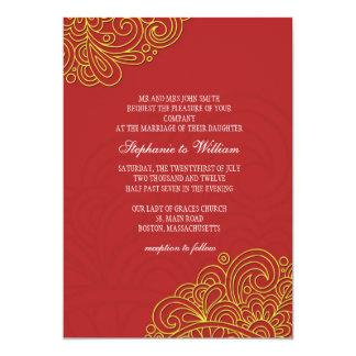 Invitación floral asiática del boda del remolino