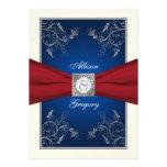 Invitación floral azul de marfil roja del boda del