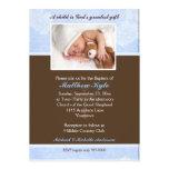 Invitación floral azul del bautismo de la foto