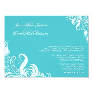 Invitación floral azul del boda del acento de