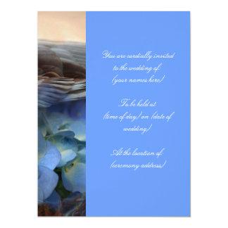 Invitación floral azul del boda del pájaro invitación 16,5 x 22,2 cm
