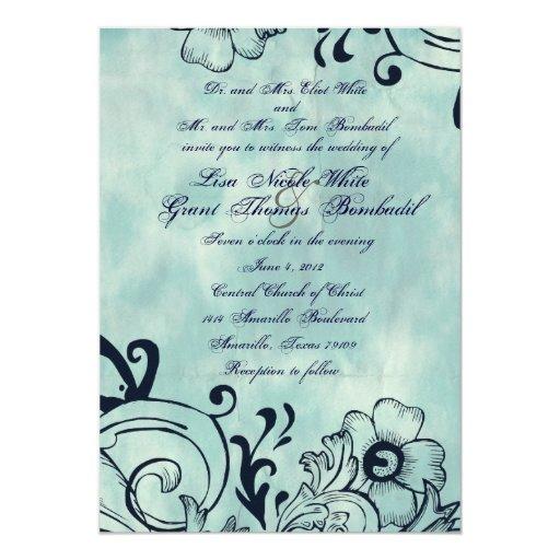 Invitación floral azul del boda del vintage