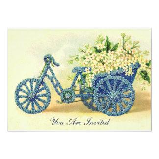 Invitación floral azul del triciclo del vintage