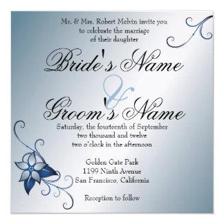 Invitación floral azul moderna del boda