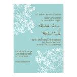 Invitación floral azul y blanca del boda