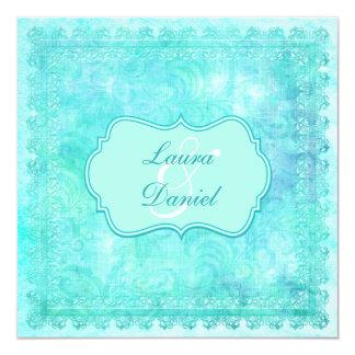 Invitación floral azul y verde del boda del cordón