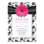 Invitación floral blanca del boda del negro rosado invitación 12,7 x 17,8 cm
