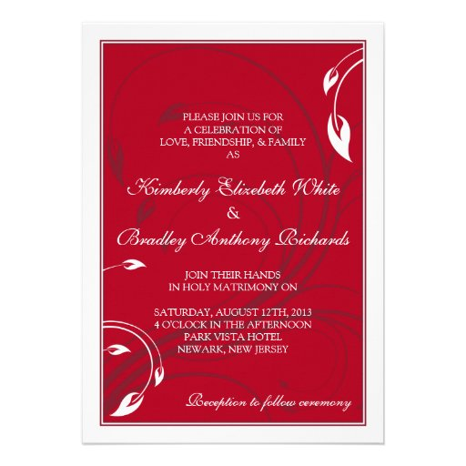 Invitación floral blanca del boda del rojo cereza