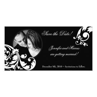 invitación floral blanca negra del compromiso 4x8 plantilla para tarjeta de foto