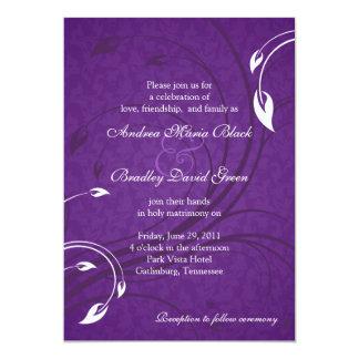 Invitación floral blanca púrpura elegante del boda invitación 12,7 x 17,8 cm