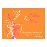 Invitación floral blanca rosada anaranjada del bod