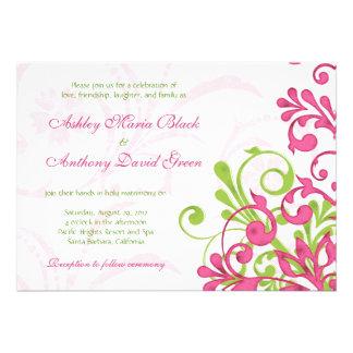 Invitación floral blanca verde rosada vibrante del