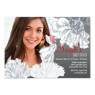 Invitación floral blanco y negro de la foto