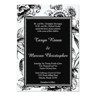 Invitación floral blanco y negro del boda 5x7
