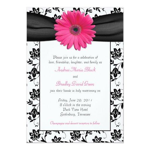 Invitación floral blanco y negro del boda del