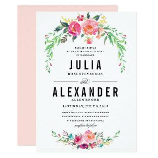 Invitación floral bohemia del boda