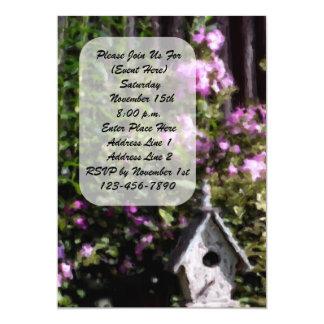 Invitación floral de la casa del pájaro del jardín