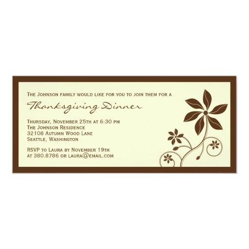 Invitación floral de la cena de la acción de