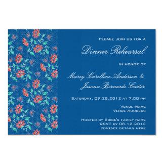 Invitación floral de la cena del ensayo del batik