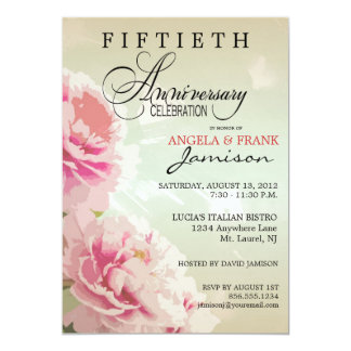 Invitación floral de la fiesta de aniversario del