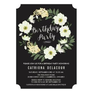 Invitación floral de la fiesta de cumpleaños de la invitación 12,7 x 17,8 cm