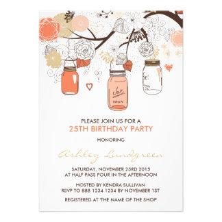 Invitación floral de la fiesta de cumpleaños de lo