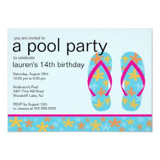 Invitación floral de la fiesta en la piscina de invitación 12,7 x 17,8 cm