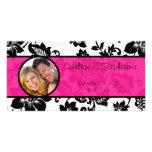 Invitación floral de la foto del damasco del negro tarjeta personal con foto