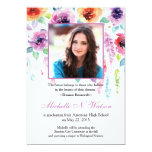 Invitación floral de la graduación de la acuarela