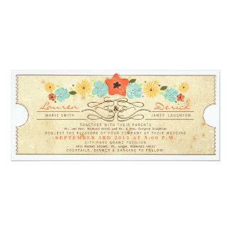 Invitación floral de la longitud del té del boleto