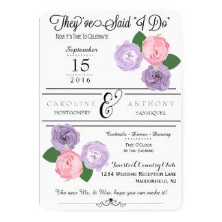 Invitación floral de la recepción nupcial