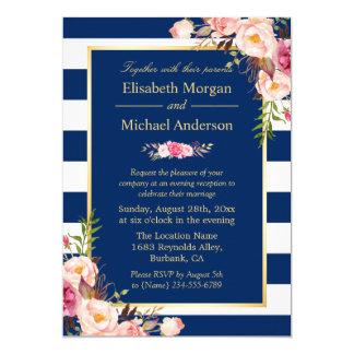 Invitación floral de la tarde del boda del color