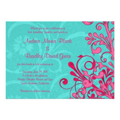 Invitación floral de la turquesa y del boda del ro