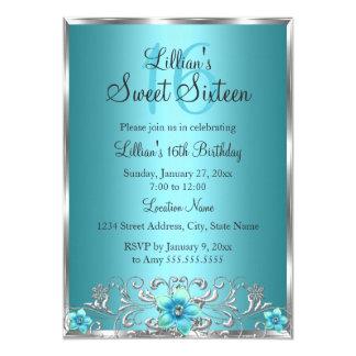 Invitación floral de plata azul del dulce 16 del