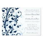 Invitación floral del azul marino y blanca del invitación 12,7 x 17,8 cm