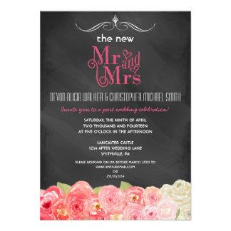 Invitación floral del banquete de boda del poste d