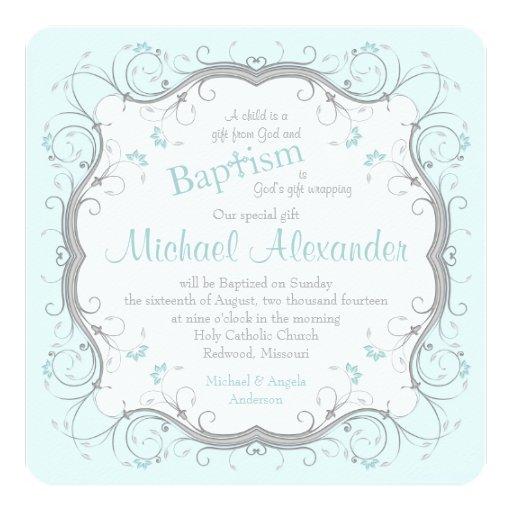 Invitación floral del bautismo de la voluta del